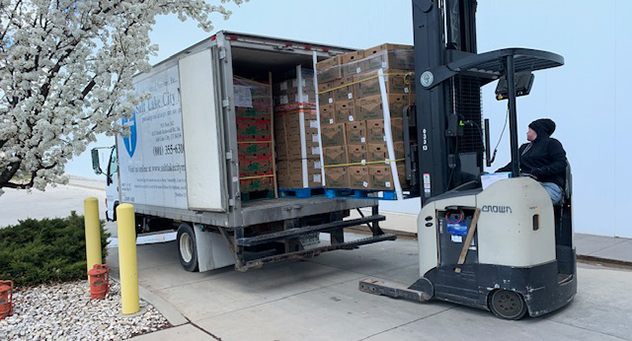 Loading truck with food donations