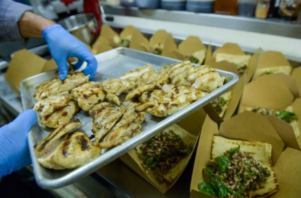 Restaurant preparing meals for front line workers